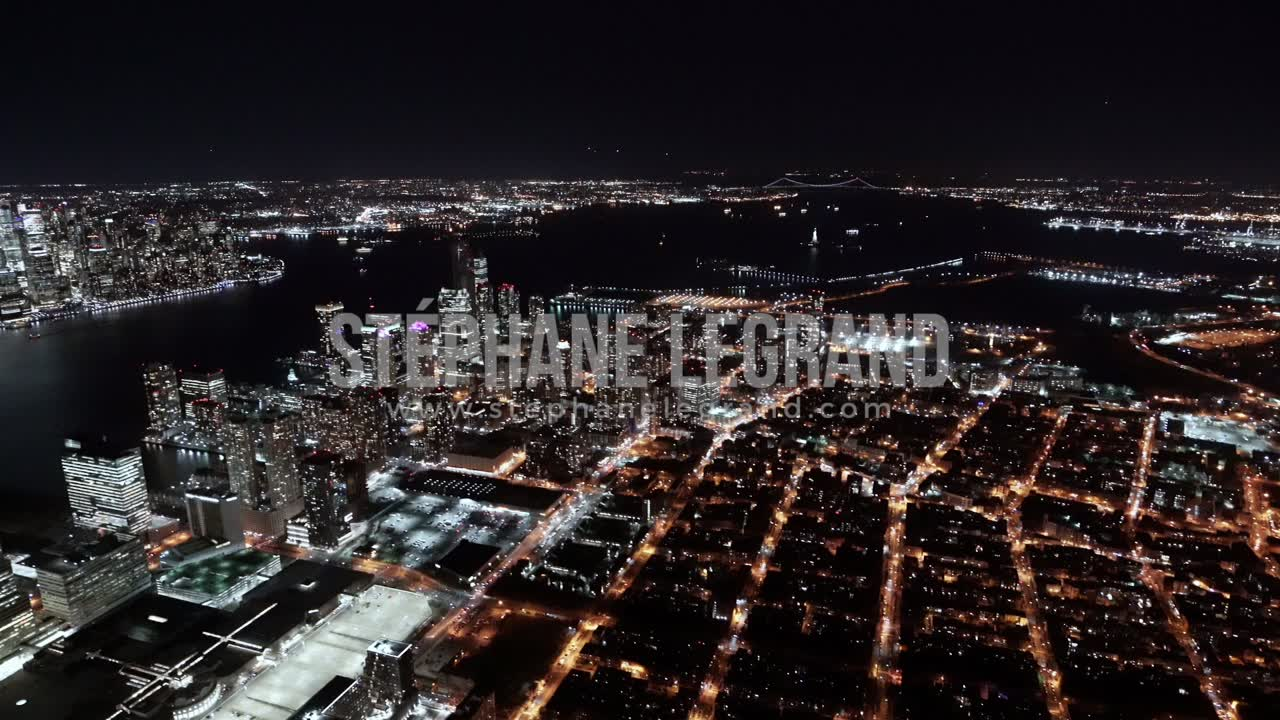 New York City , USA, Aerial  - Jersey City at Night as seen from a helicopter