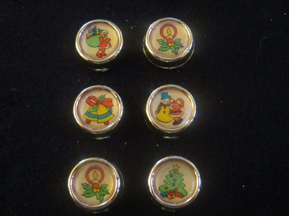 Vintage 6pc Christmas Button Covers