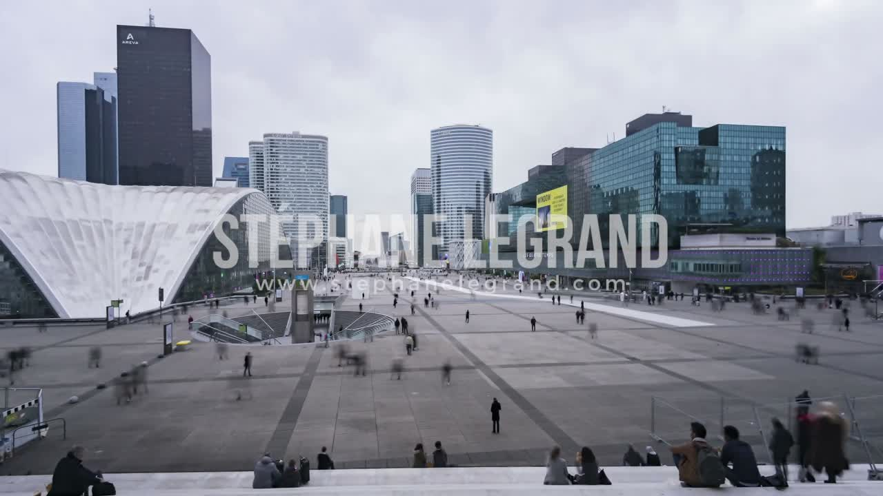 Paris, France, Timelapse  - Daytime in the financial District