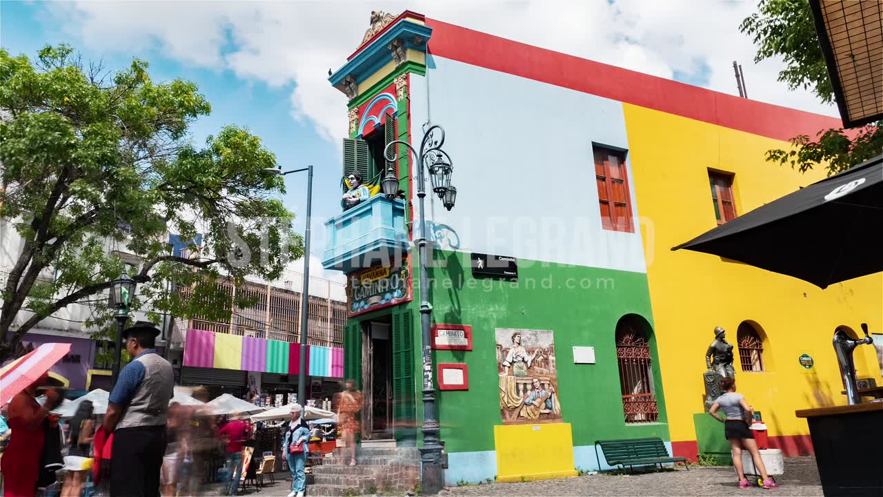 Buenos Aires, Argentina, Timelapse  - Colorful iconic building in the neighborhood of la Boca