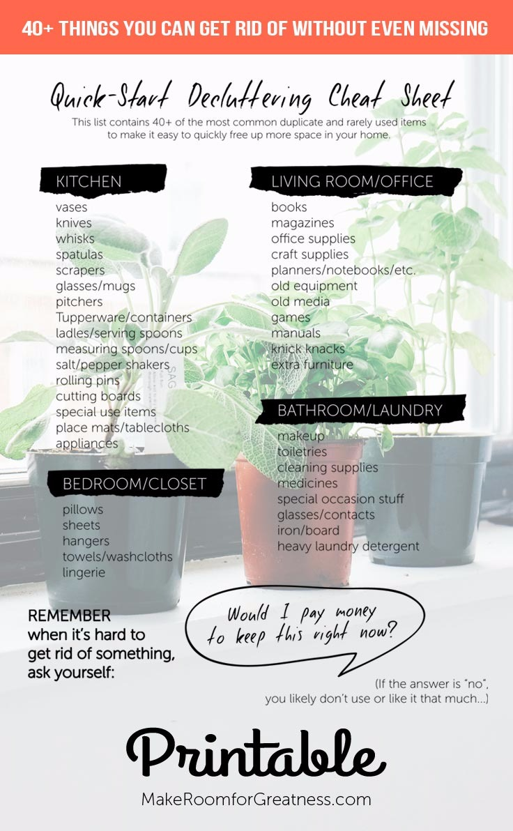 40+ Things Quick-Start Decluttering Cheat Sheet
