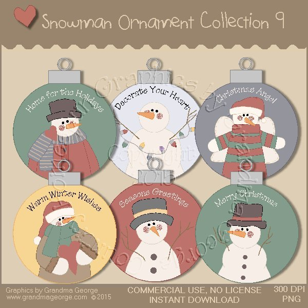 Country Snowman Ornament Collection Vol. 9