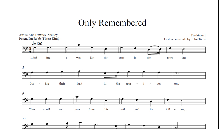 Only Remembered: licensed for 1-10 singers