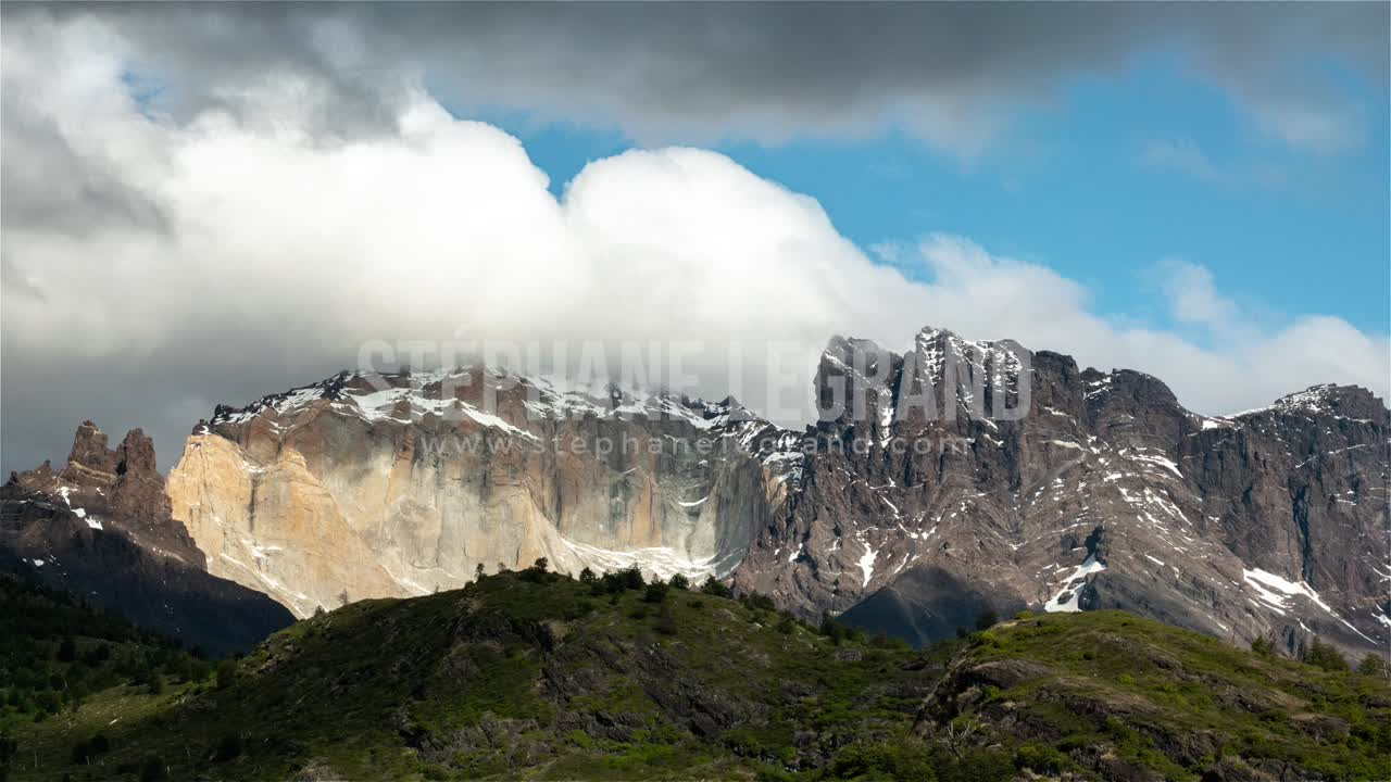 Torres del Paine, Chile, Timelapse  - The top of the mountains as seen from Dickson campsite