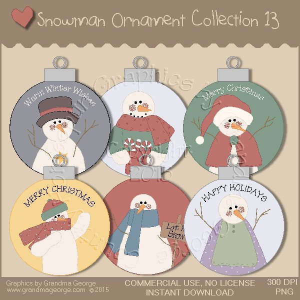 Country Snowman Ornament Collection Vol. 13