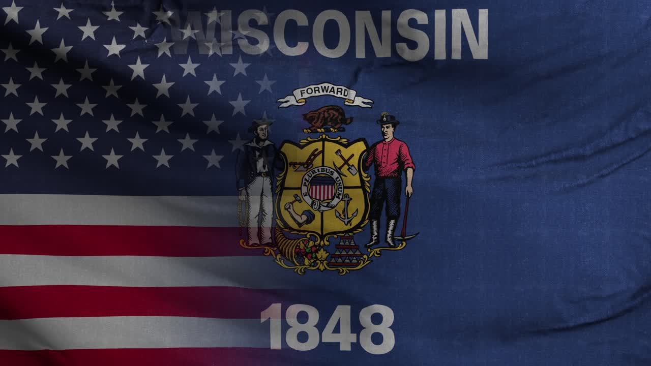 Wisconsin State USA Mixed Flag 4K