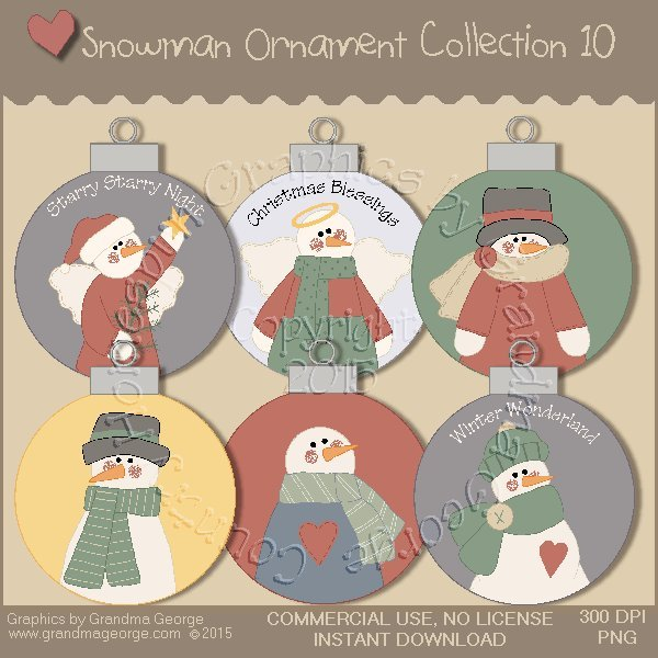 Country Snowman Ornament Collection Vol. 10