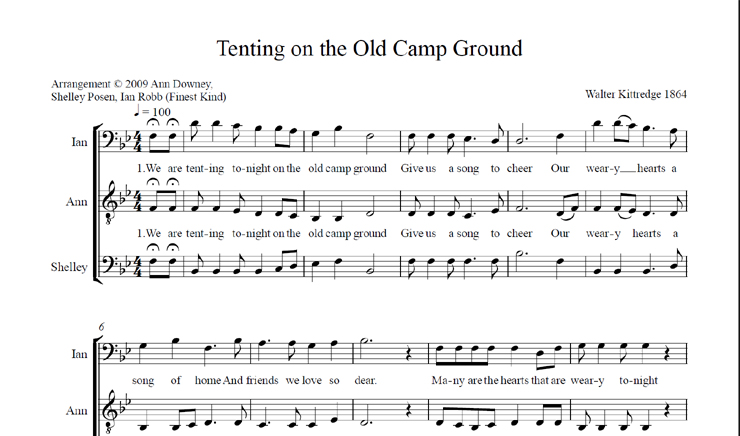 Tenting on the Old Camp Ground: licensed for over 30 singers