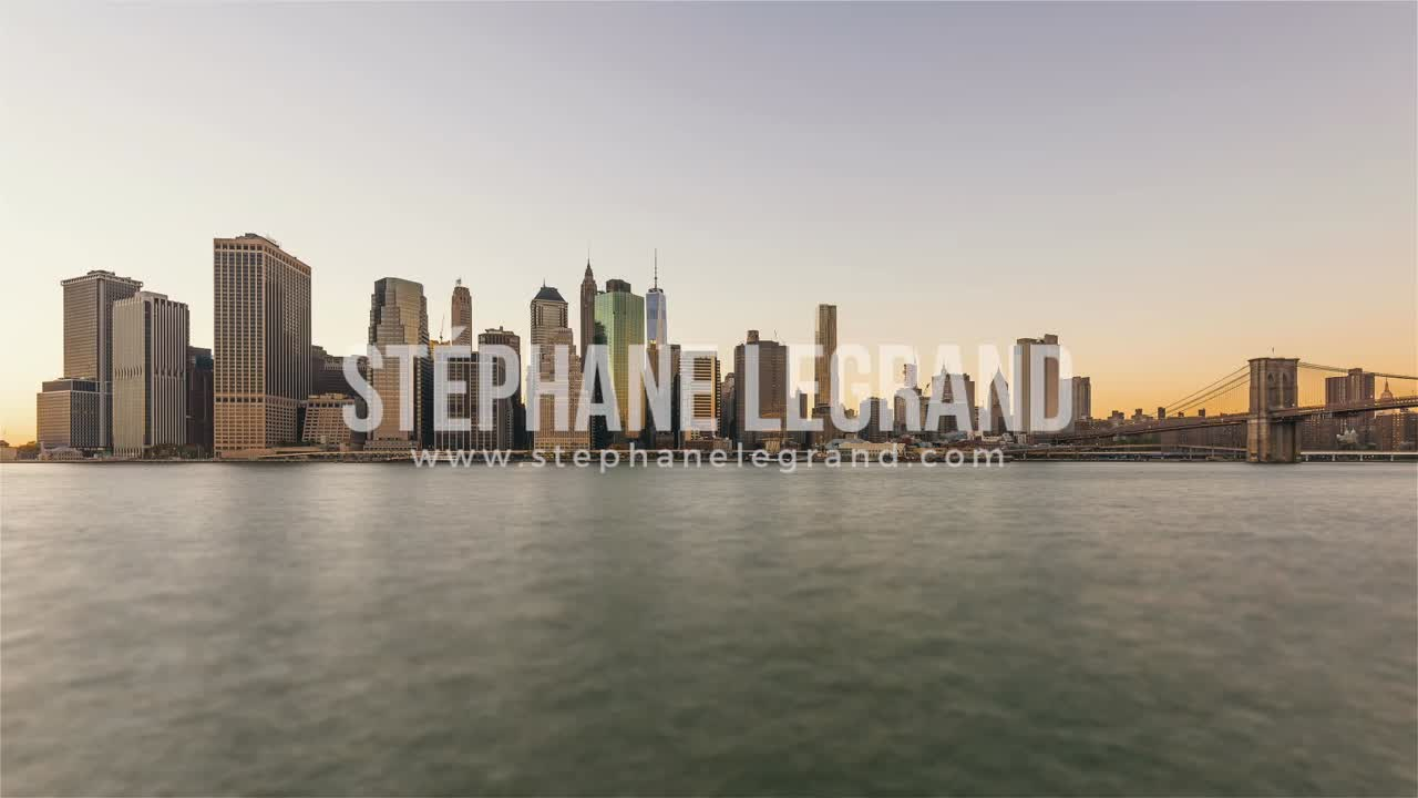 New York City , USA, Timelapse  - Manhattan's Skyline from Day to Night as seen from Brooklyn