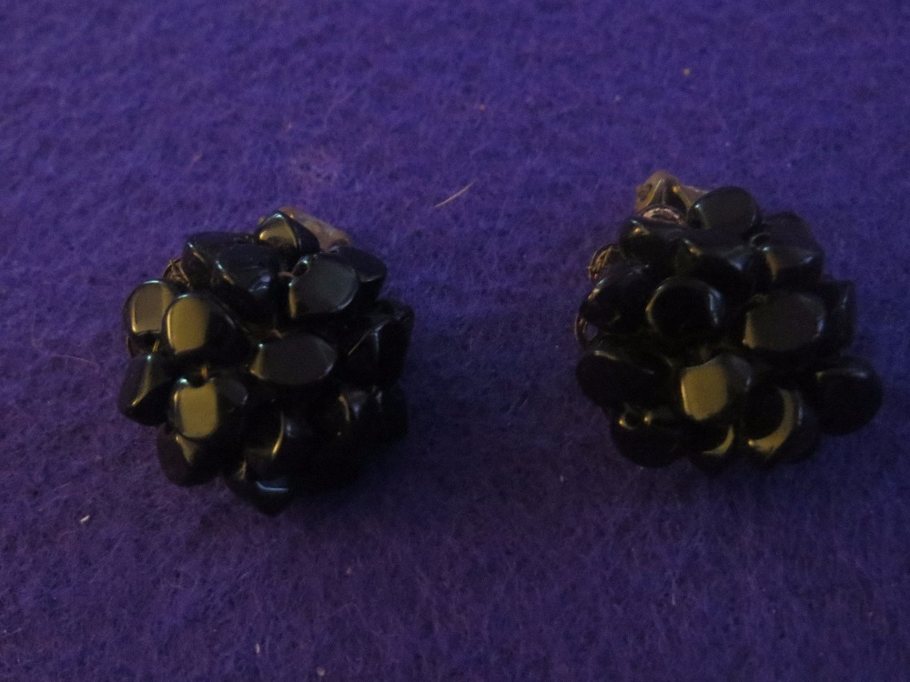 Vintage Black Stone Cluster Clip Earrings