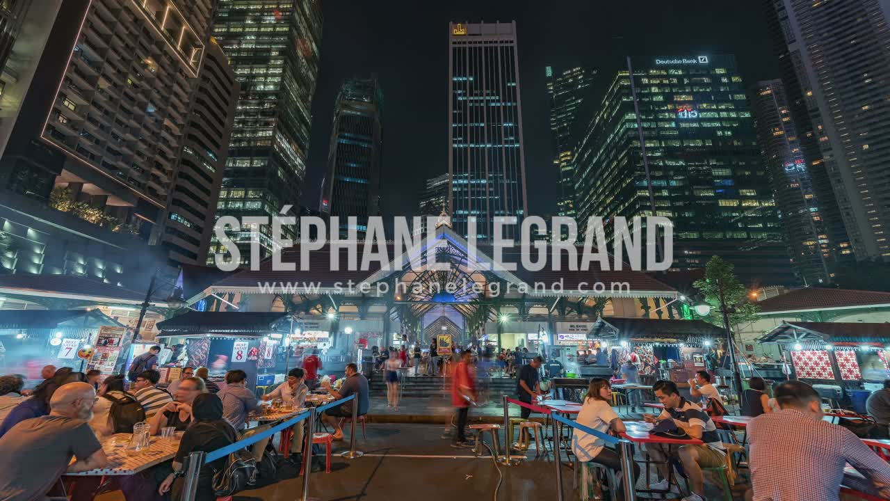 Singapore | The Downtown outdoor foodcourt at Night (front view)