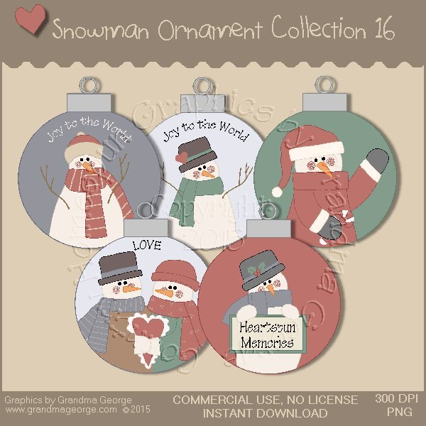 Country Snowman Ornament Collection Vol. 16