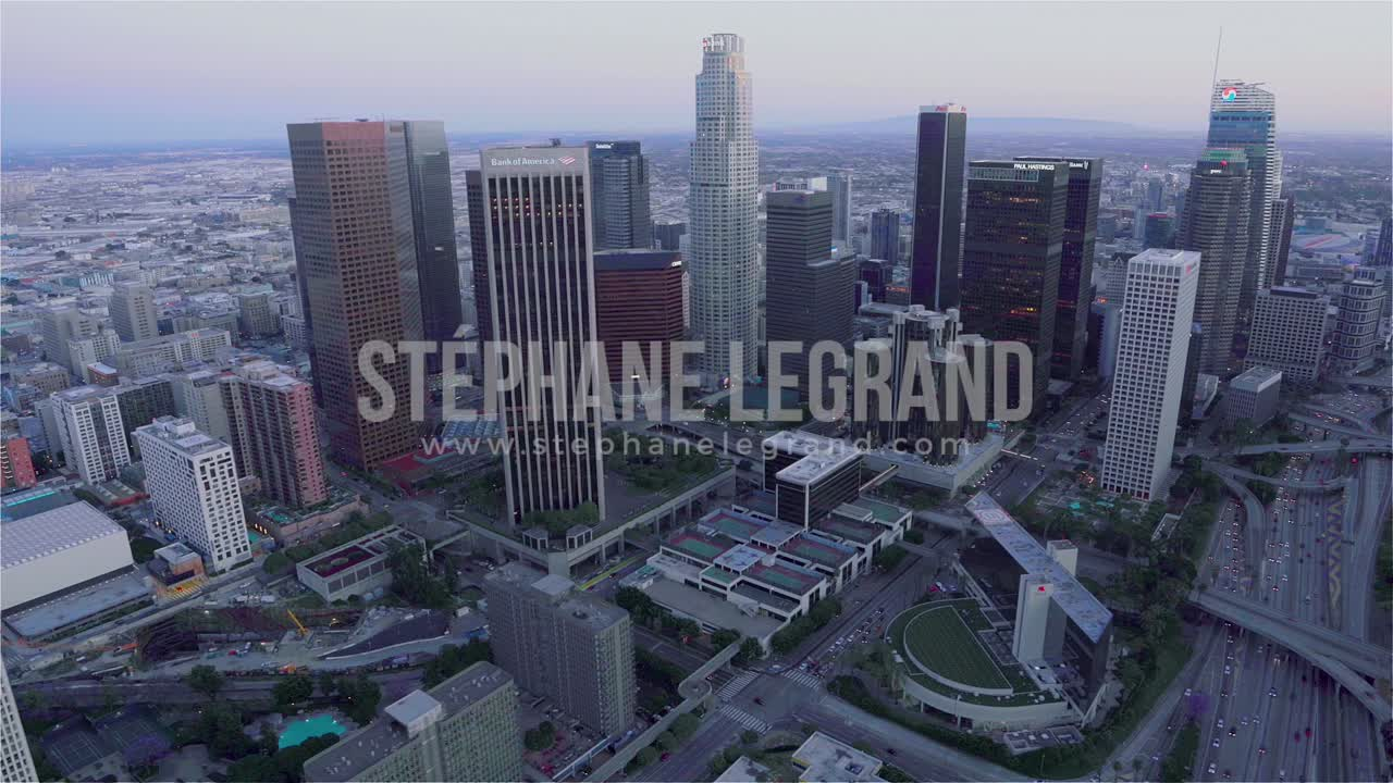 Los Angeles, USA, Aerial  - The financial district as seen from a helicopter
