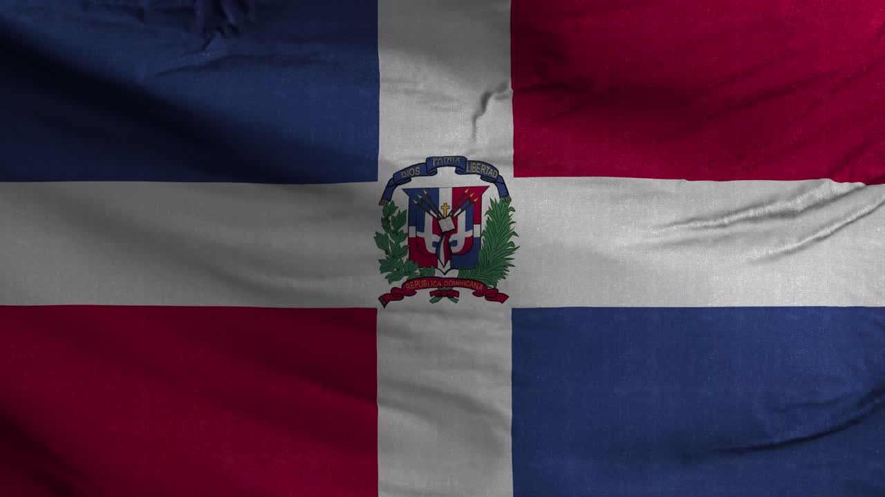Dominican Republic Flag Textured Waving Background 4K