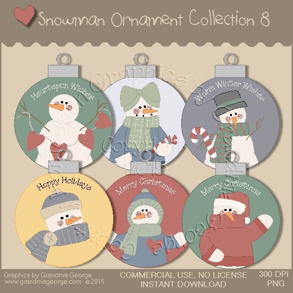 Country Snowman Ornament Collection Vol. 8