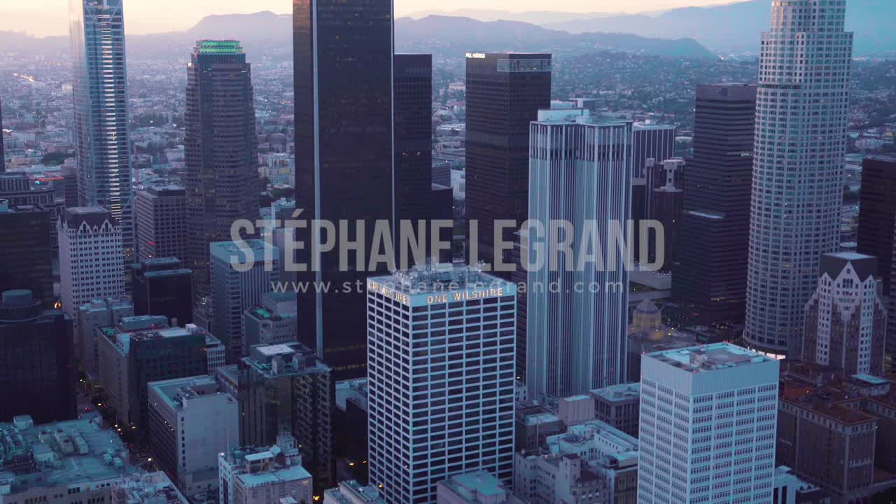Los Angeles, USA, Aerial  - The skyscrapers of Los Angeles as seen from a helicopter