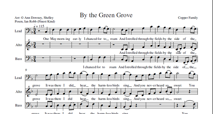 By the Green Grove: licensed for 1-10 singers
