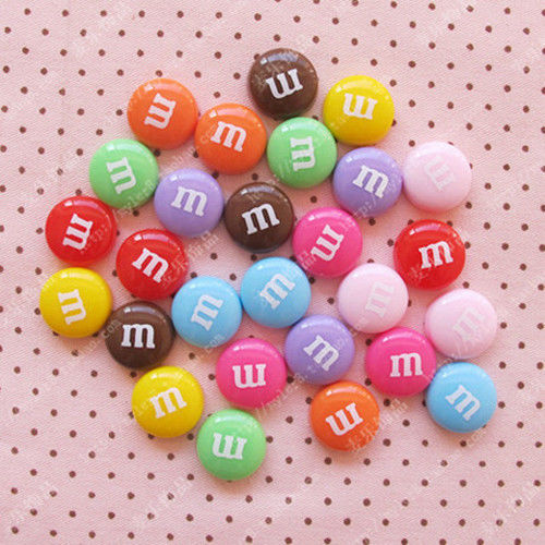 Flat Back Resin Craft Pieces M&M's  14mm
