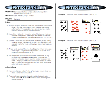 Construction: a Number Pattern Game