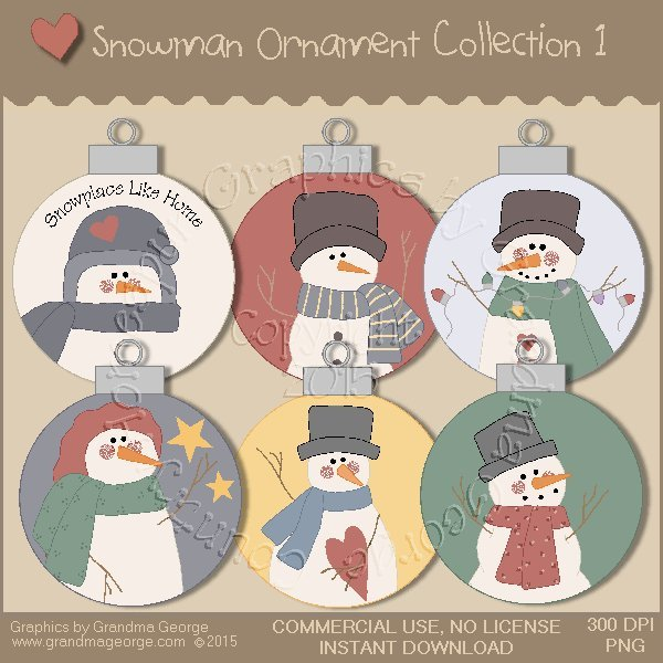 Country Snowman Ornament Collection Vol. 1