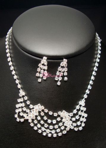 New Fashion Style 1x Silver Necklace Wedding Set Bridal Prom