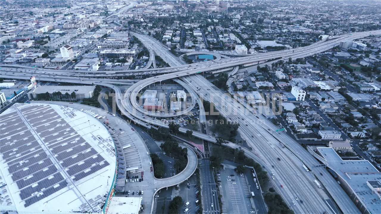 Los Angeles, USA, Aerial  - The Highway 10 and 110 at dusk as seen from a helicopter