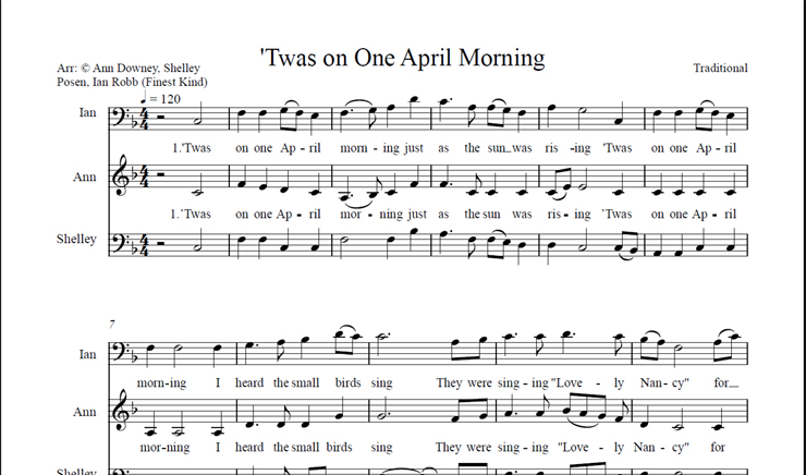 April Morning: licensed for over 30 singers