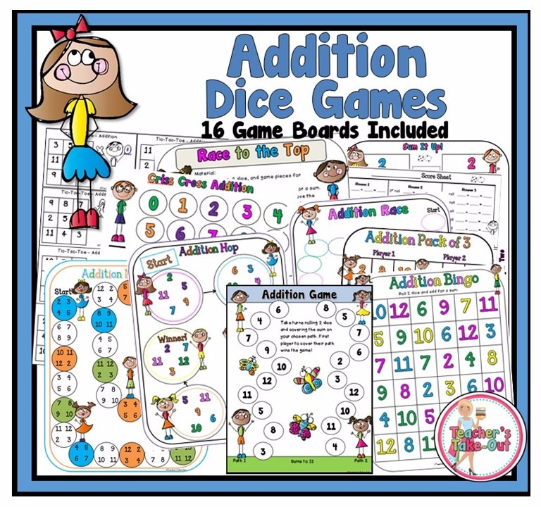 Addition Dice Games With Kids Theme