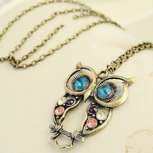 Fashion Rhinestone Hollow Big Owl Long Chain Pendant Necklace Jewelry